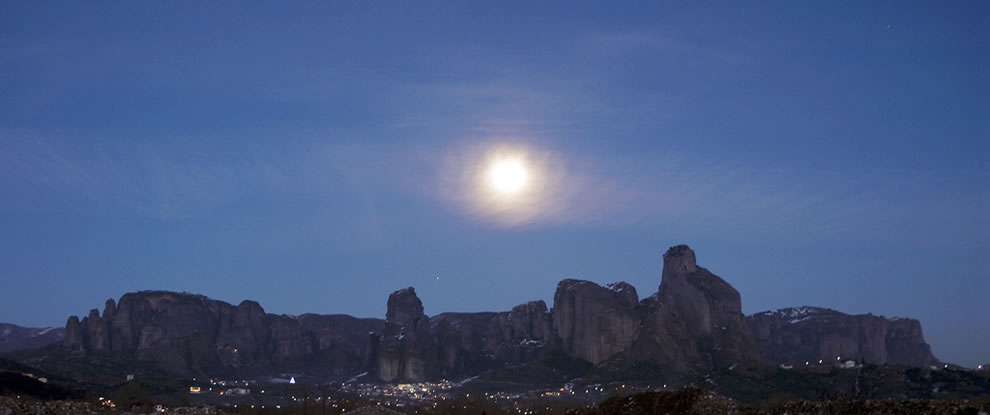 Approaching Meteora under moonlight