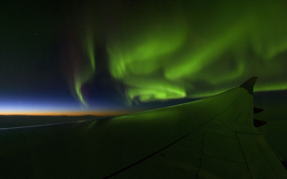 Aurora Borealis as seen from 11,000m (36,000 feet) above Canada