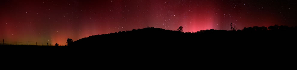 Aurora Australis panorama appearing in the night sky at Swifts Creek, 100km north of Lakes Entrance, Victoria, Australia
