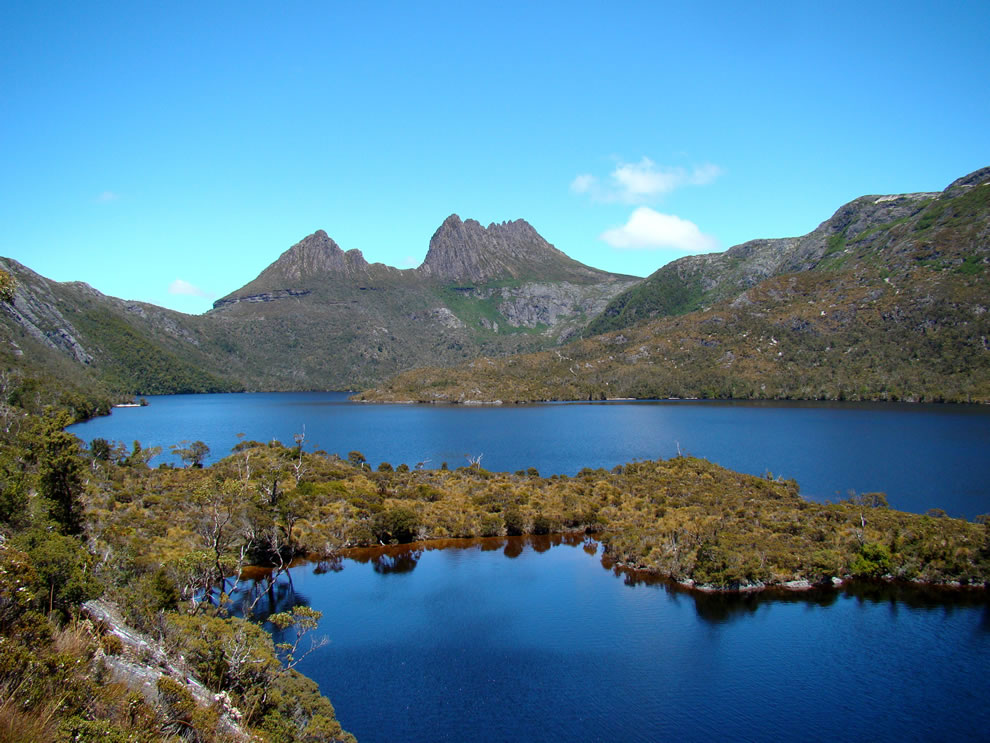 Cradle Mountain as seen from the north, across Dove Lake, Australia
