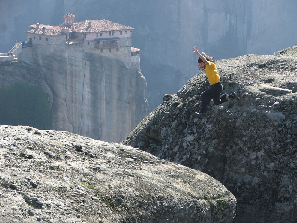 Meteora - jumping from high clifftop