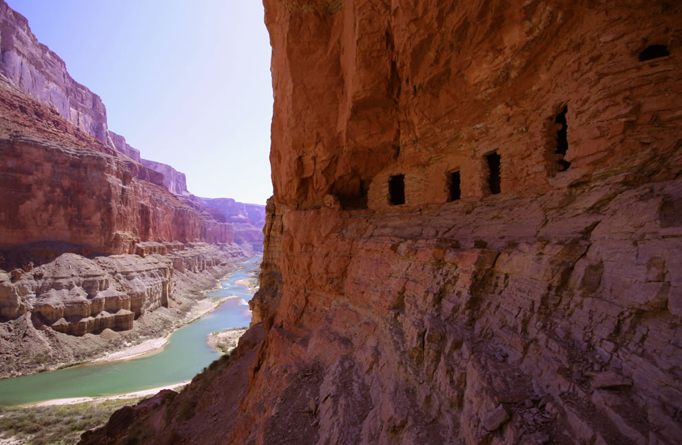 Ancestral Puebloan granaries high above the Colorado River at Nankoweap Creek, Grand Canyon
