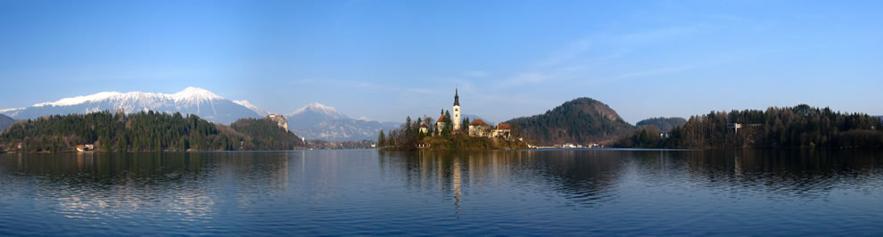 Bled lake, castle and parish church