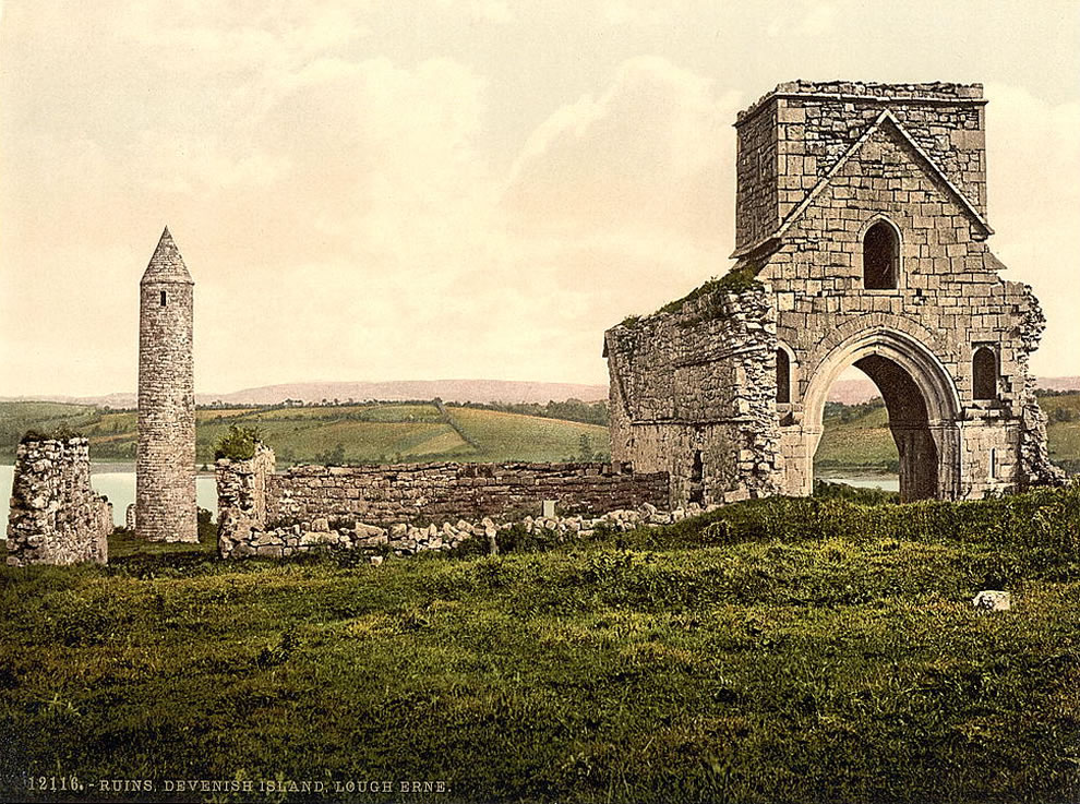 St. Patrick's Day - Devenish Island ruins, Lough Erne. County Fermanagh, Ireland Photochrom prints--Color--1890-1900