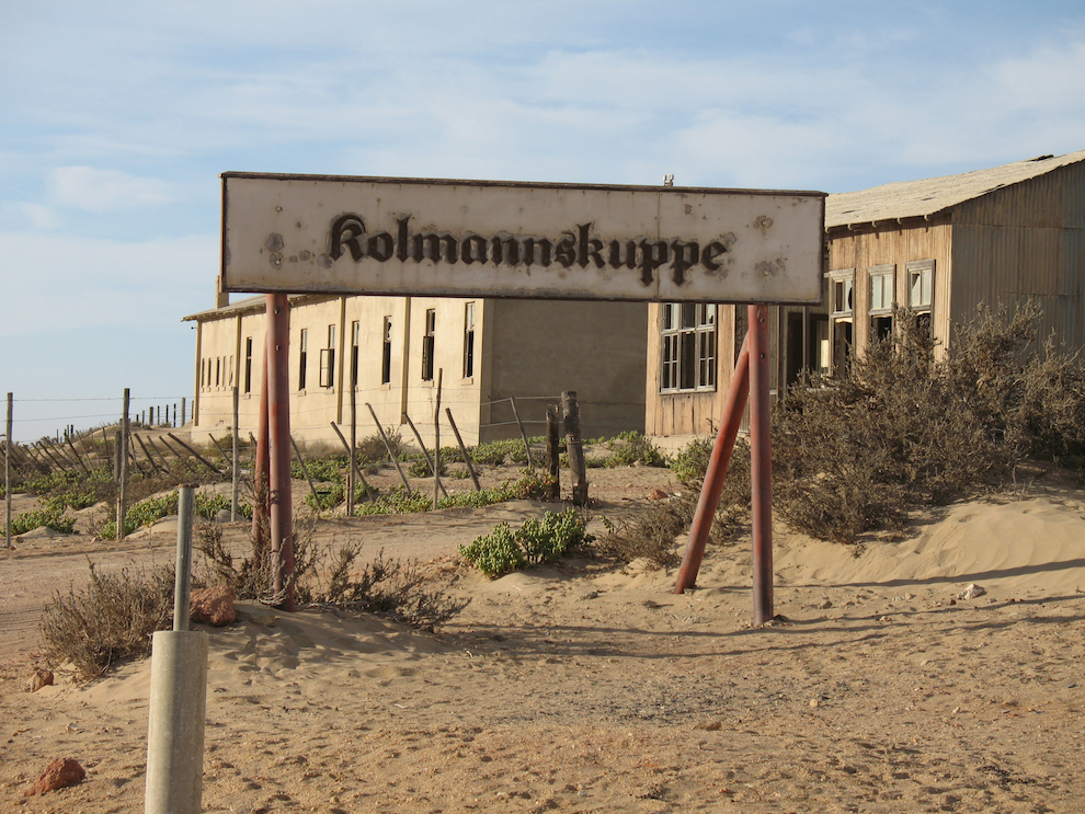 City limit sign of Kolmannskuppe, Namibia - ghost town