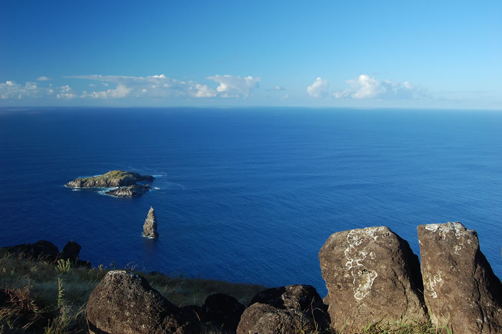 Moto Nui as seen from the crater rim at Rano Kau on Easter Island