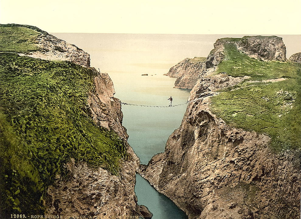 St. Patrick's Day - Rope Bridge, Carrick-a-Rede. County Antrim, Ireland - Photochrom prints--Color--1890-1900