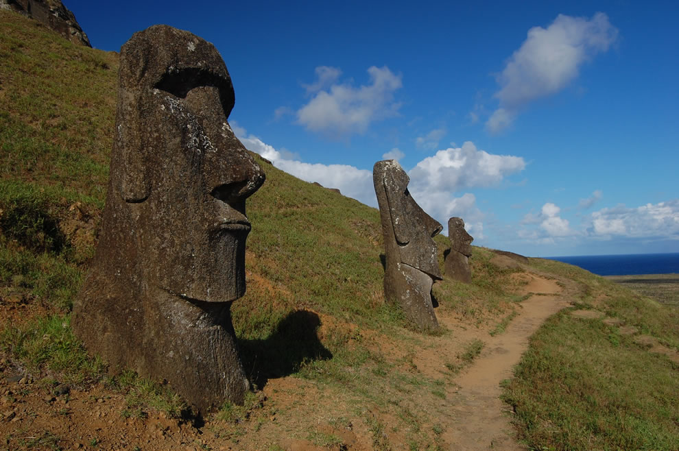 Easter Island Trail by the moai at Rano Raraku