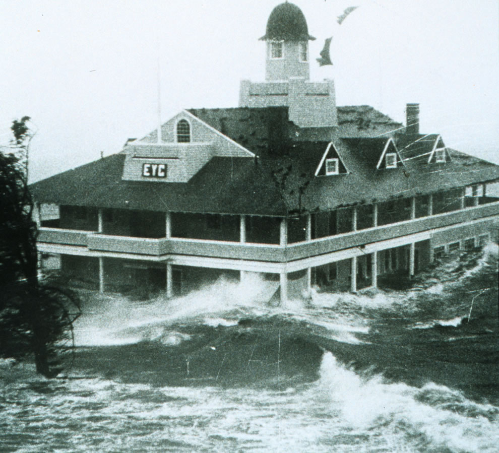 1969 Storm surge from Hurricane Carol lashes Rhode Island Yacht Club