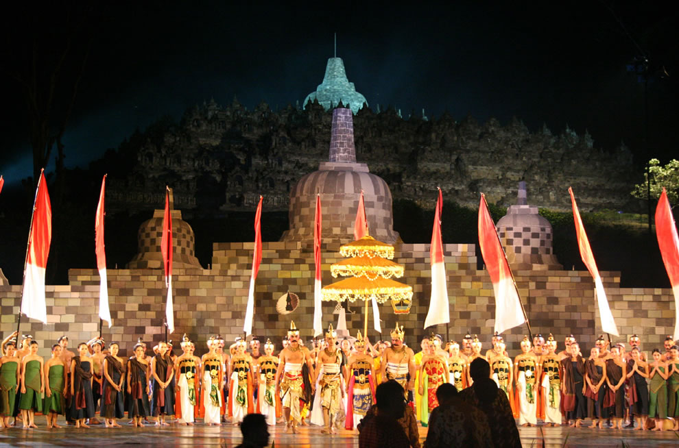 Ballet Performance in front of the Borobudur Temple at the Trail of Civilizations Symposium