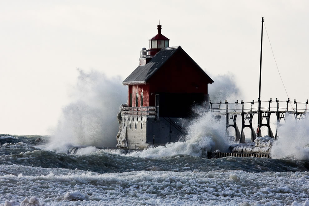 Battered Grand Haven Pier Light