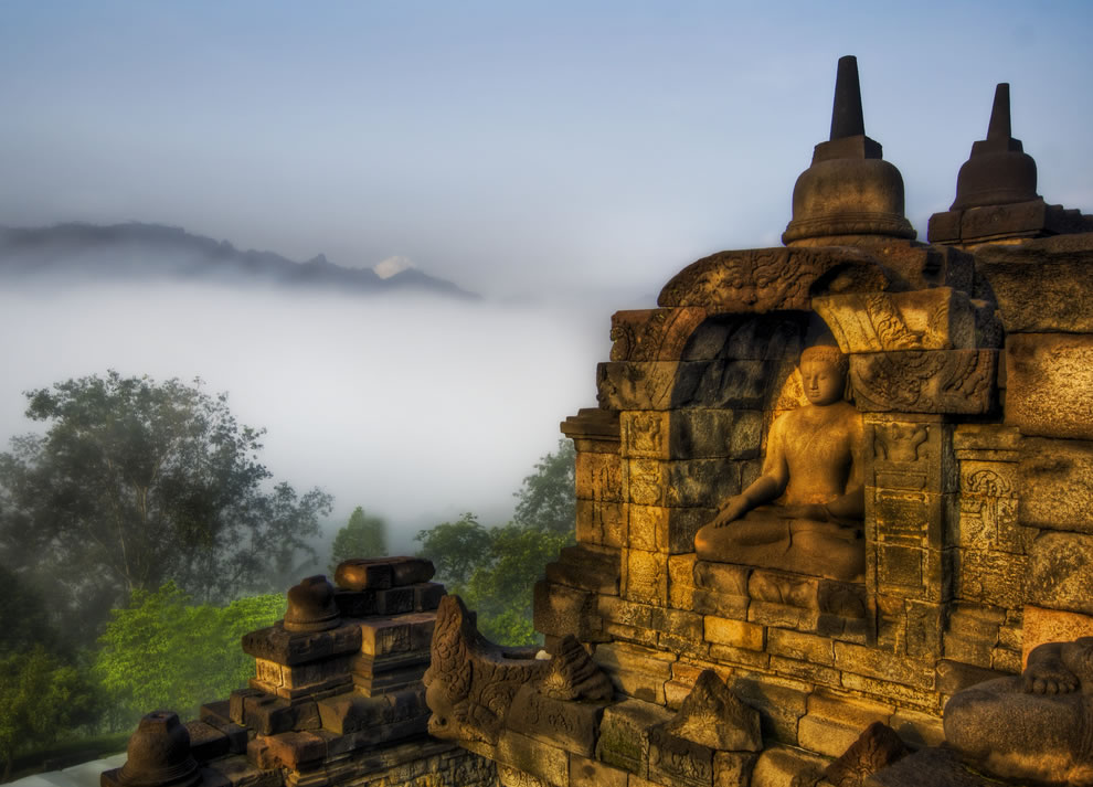 Buddha in the Jungle Highlands. This peaceful buddha looks out across the mist and fog on a relaxing morning