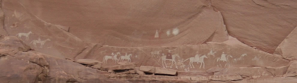 Canyon de Chelly Petroglyphs - People on Horseback
