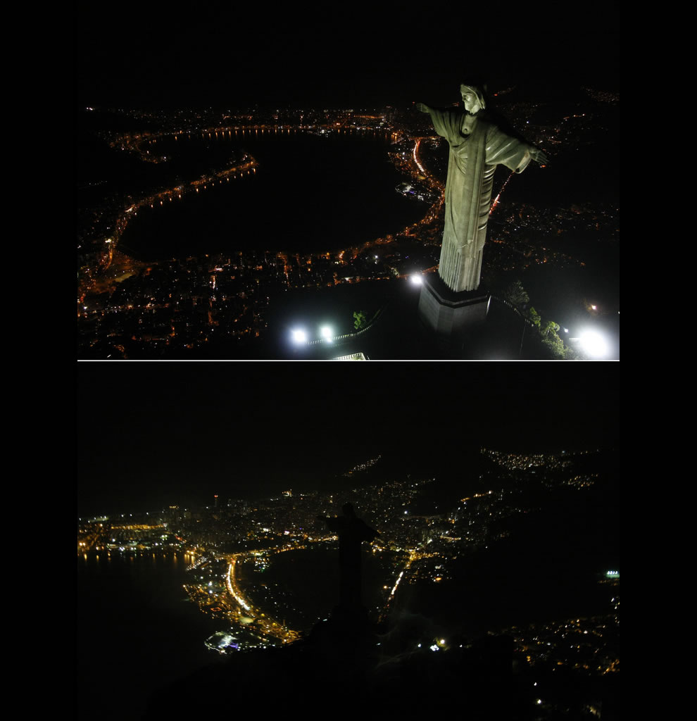 Christ the Redeemer Rio de Janeiro, before and during Earth Hour