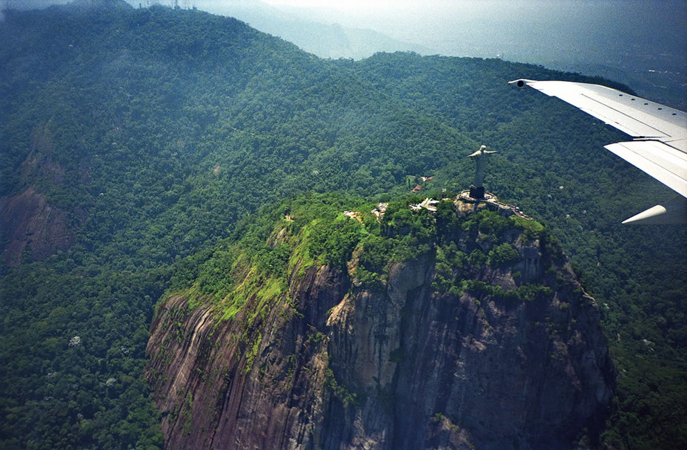 Corcovado from the airplane famous statue of Christ overlooking the city