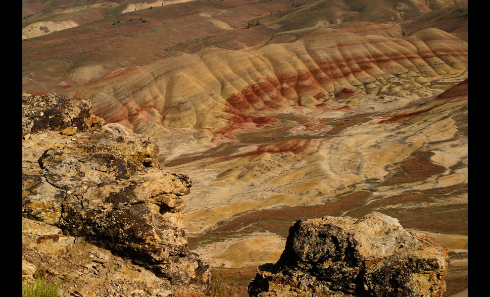 Looking down at the Painted Hills of John Day Fossil Beds National Monument