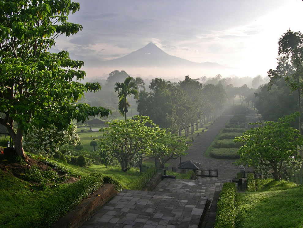 Merapi from Borobudur temple