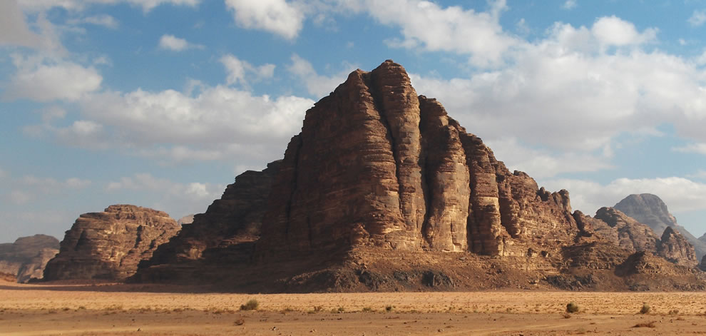 Mount Rum in Wadi Rum stands at 1734 m above sea level. The mountain was named the Seven Pillars of Wisdom - for its shape as seven pillars - by Lawrence of Arabi