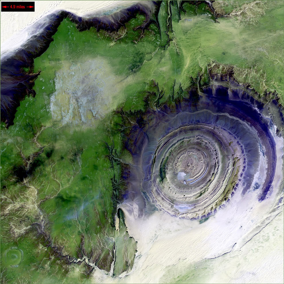 Richat Structure, Mauritania from Landsat 7