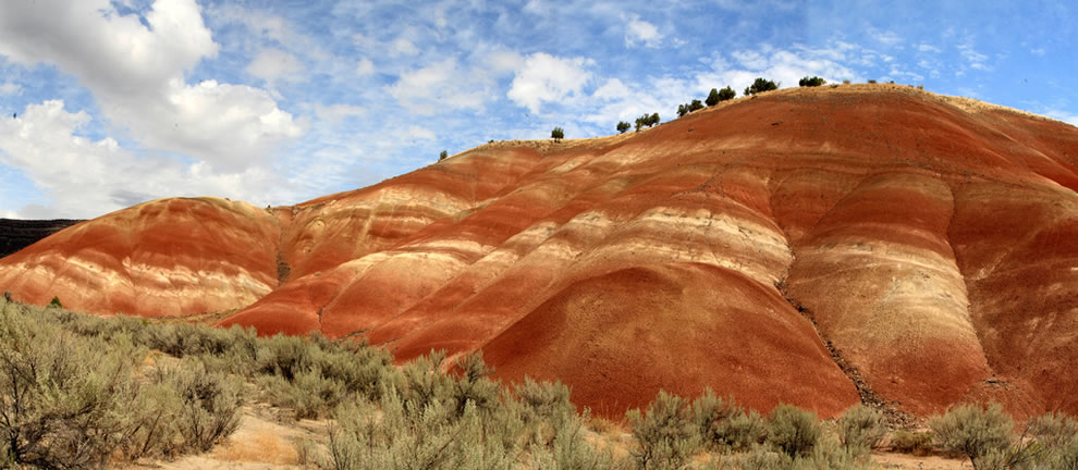 Stitched shot of the painted hills near John Day Fossil Beds National Monument - Painted Hills Unit near Prineville, Oregon