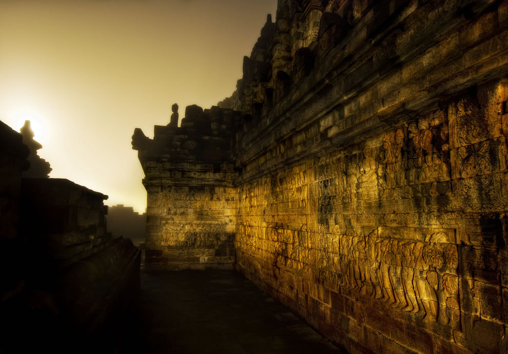 Borobudur The Dark Temple Corridor in Morning Mist at 4 AM
