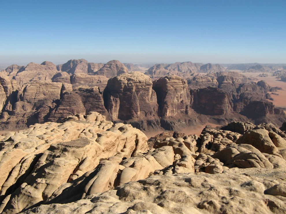 Wadi Rum from the top of Rum mountain, Jordan