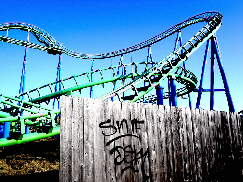 Abandoned Six Flags amusement park in New Orleans wrecked by Hurricane Katrina in 2005; submerged at one point under 6-8 feet of water