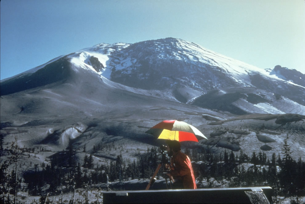 April 1980 a bulge develops on the north side of Mount St. Helens as magma pushed up within the peak BEFORE
