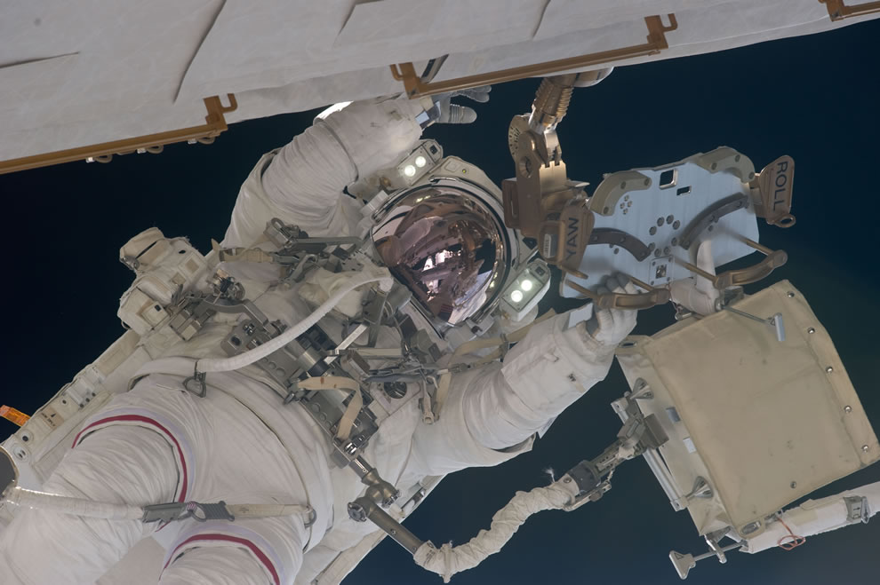 May 22 NASA astronaut Andrew Feustel, STS-134 mission specialist, participates in the mission's 2nd session of EVA as construction and maintenance continue on the ISS