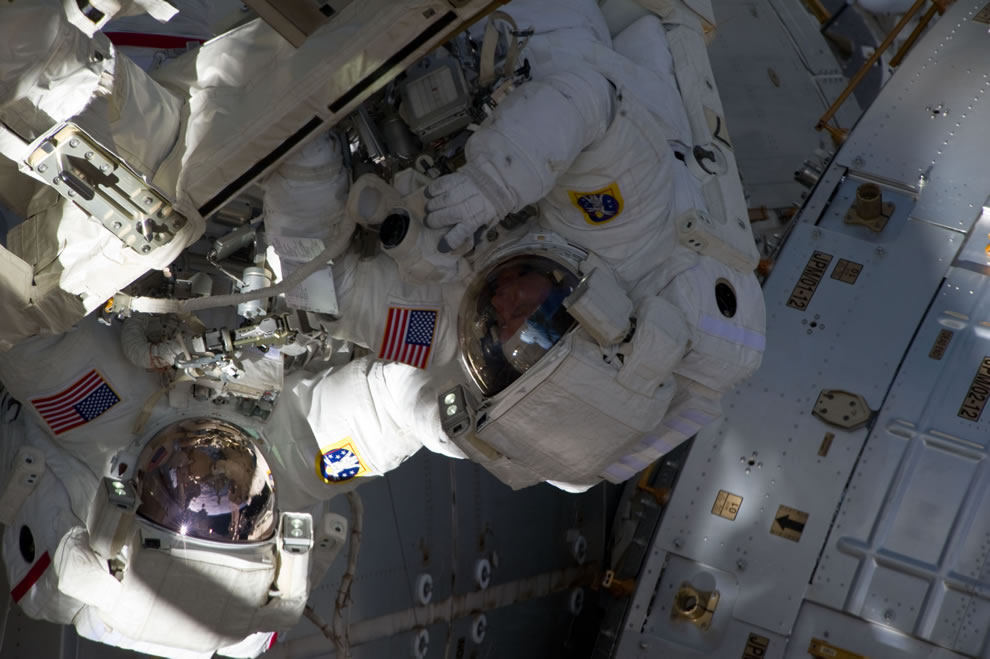 May 25 NASA astronauts Andrew Feustel (left) and Michael Fincke during STS-134