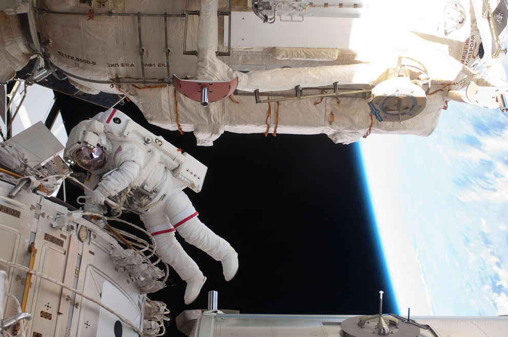 NASA astronaut Andrew Feustel is pictured during the STS-134 mission's third spacewalk