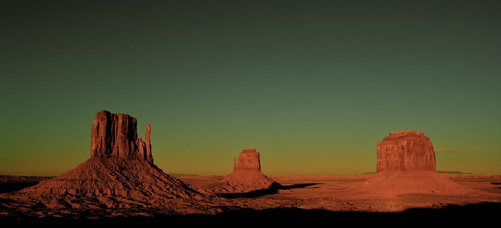 The Mittens, Monument Valley, Utah - Arizona, Down from the Visitor Center at the Navajo Tribal Park