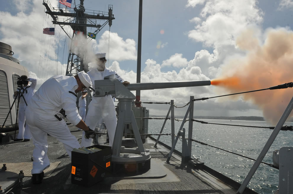 U.S. Sailors assigned to the guided missile frigate USS Boone