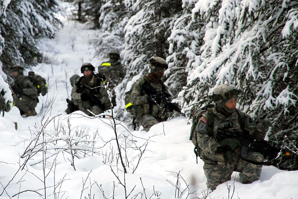 U.S. Soldiers conduct squad training at Joint Base Elmendorf-Richardson, Alaska