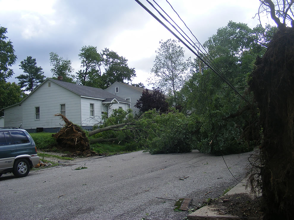 oops, getting close to downed power lines in boonville indiana after severe wind gust 90 - 105 mph rip through area