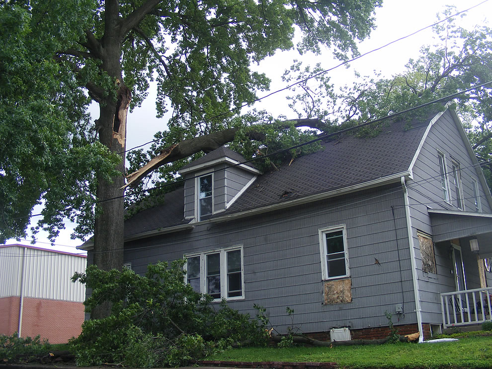 tree branch pierced roof after killer storm ripped through evansville boonville indiana area