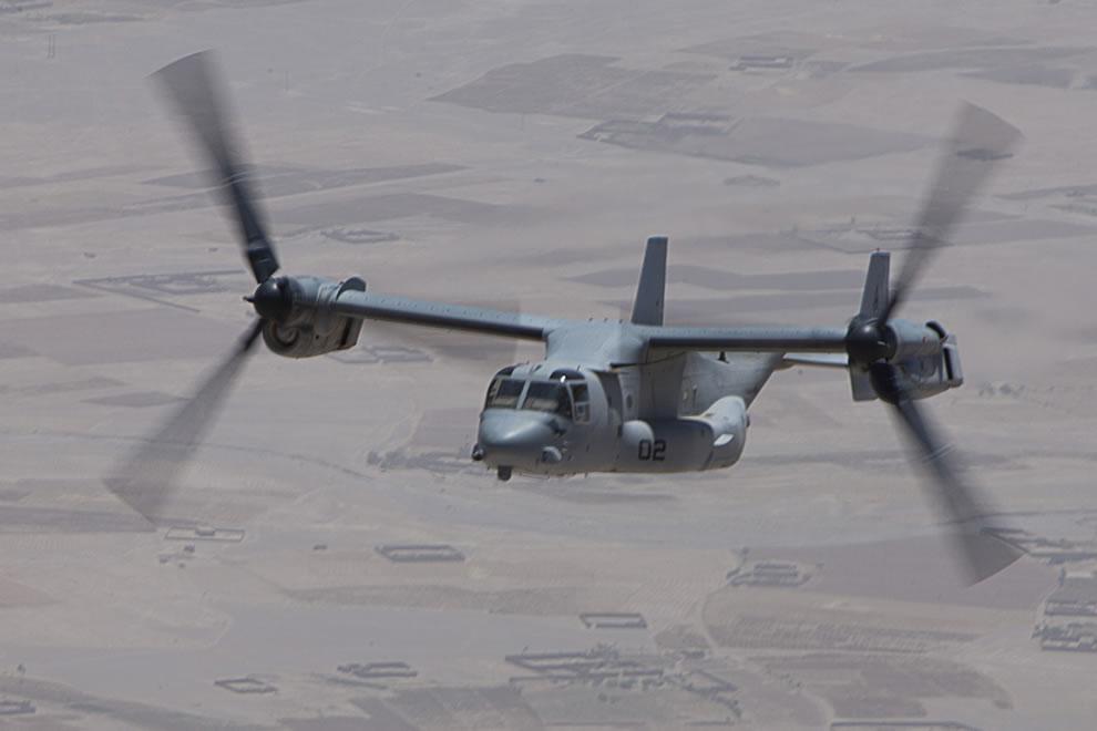 A U.S. Marine Corps V-22 Osprey aircraft