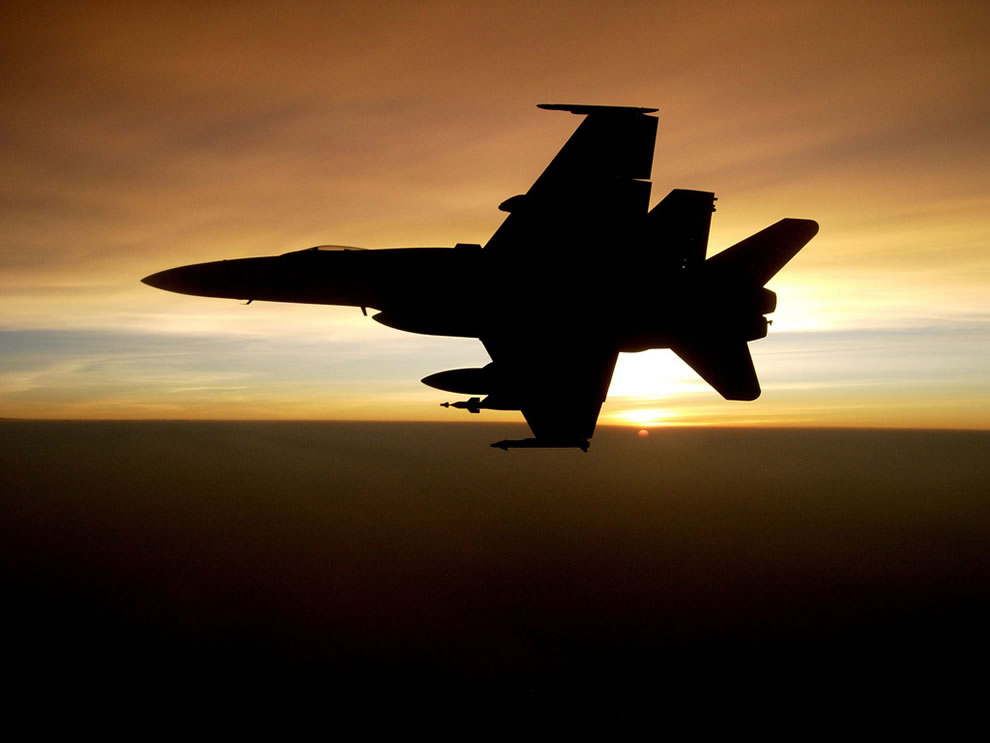 An F/A-18C Hornet aircraft returns from a mission over the Helmand River Valley of Afghanistan