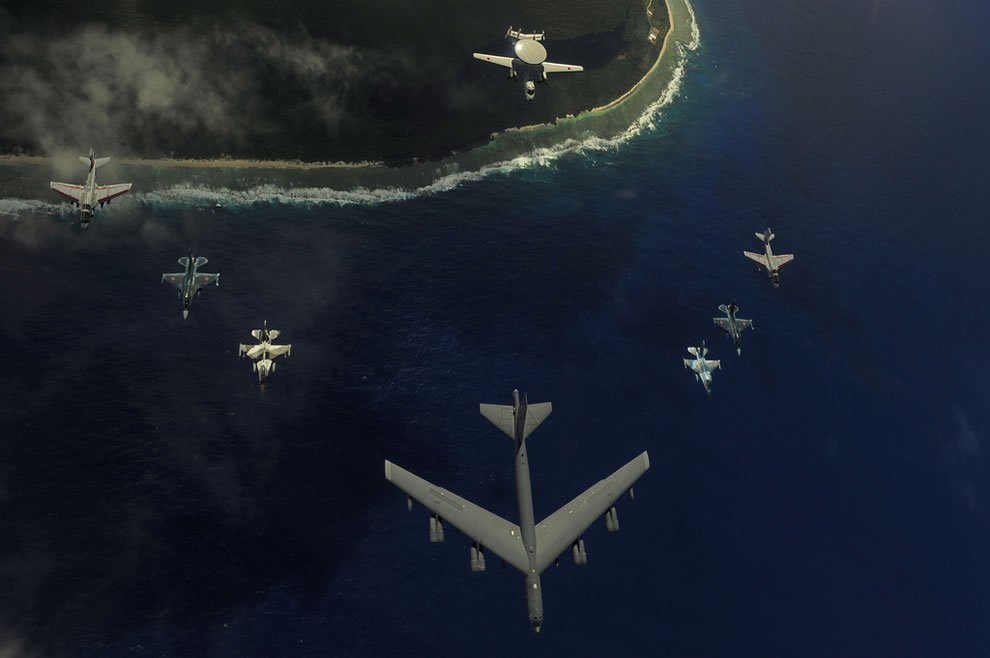 B-52 Stratofortress, two F-16 Fighting Falcons, 2 F-2 attack fighters, 2 Navy EA-6B Prowlers