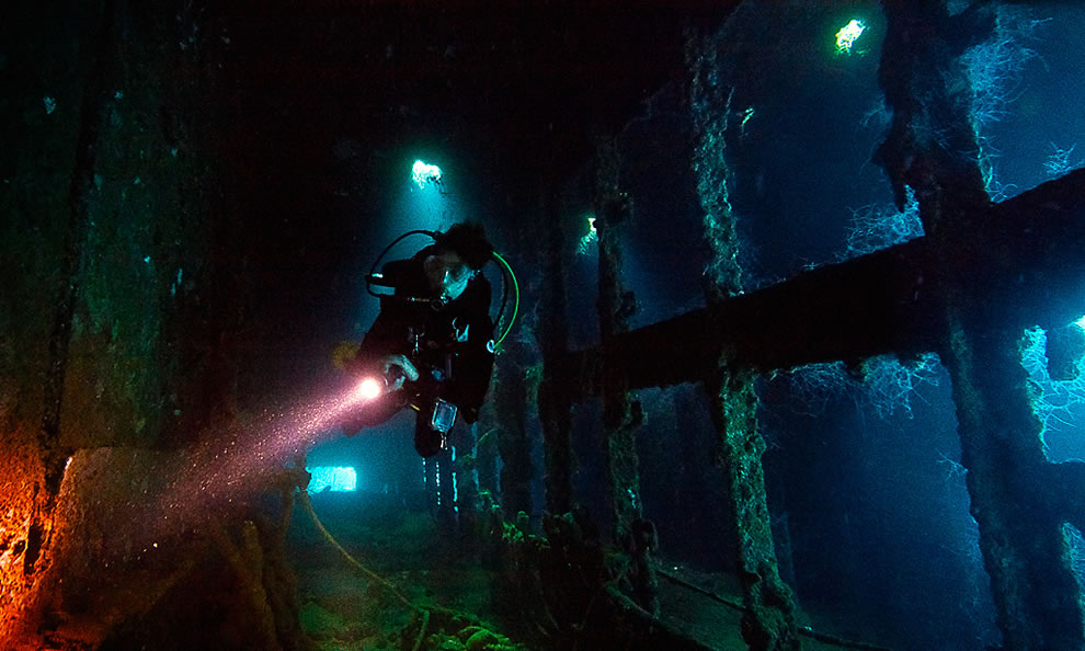 Inside the Yamigiri Maru - maximum depth 32m