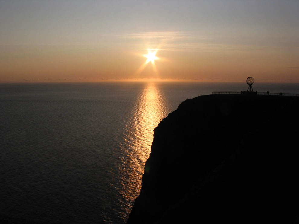 Midnight sun at Nordkapp, (North Cape) Norway