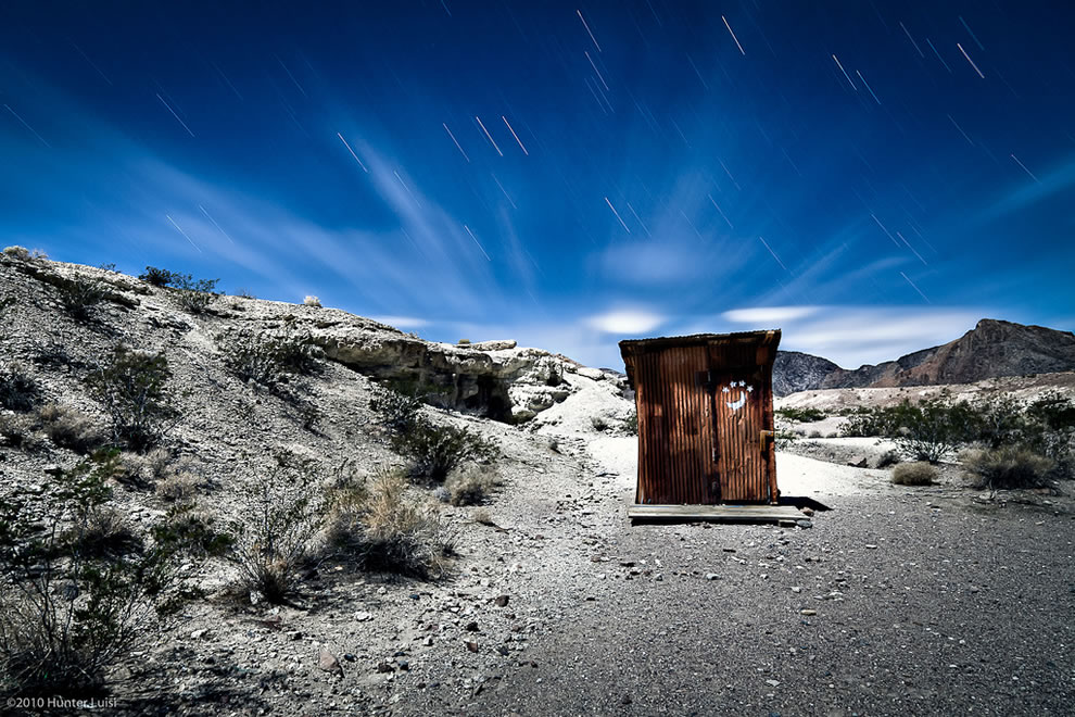 Quarter Moon - A night time HDR of an outhouse at the Shoshone Mines - Death Valley