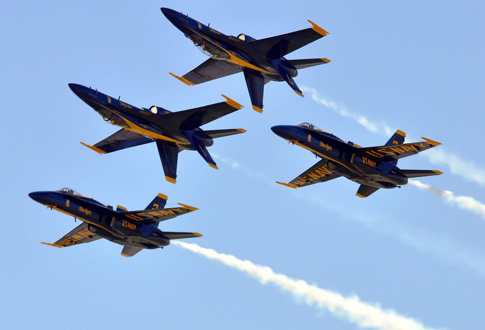 U.S. Navy flight demonstration squadron, the Blue Angels, performs at N'awlins Air Show at Naval Air Station Joint Reserve Base New Orleans