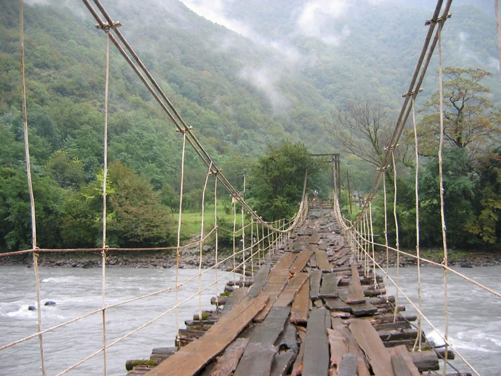 foot bridge into foggy Gagra, cross it if you dare