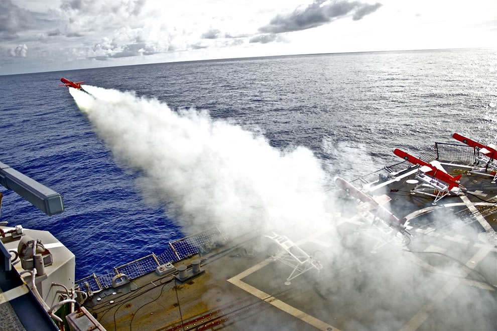 guided missile destroyer USS Lassen (DDG 82) launches a BQM-74E drone