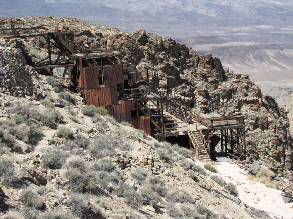 old mill that remains at the Skidoo mining area in Death Valley, California