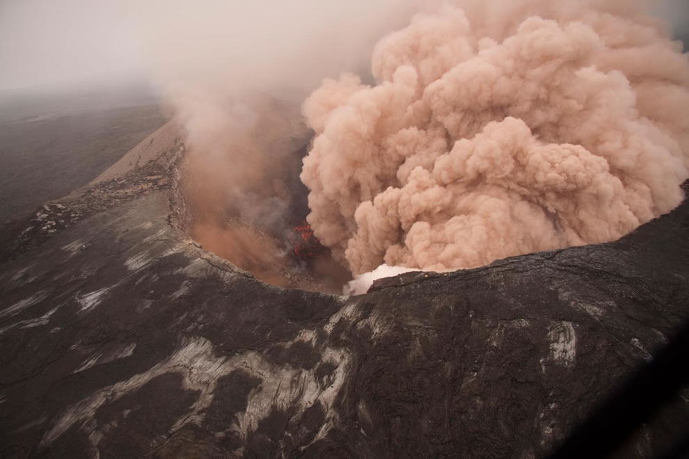 Ash cloud rising from Pu`u `Ō `ō as crater floor collapses - March 2011