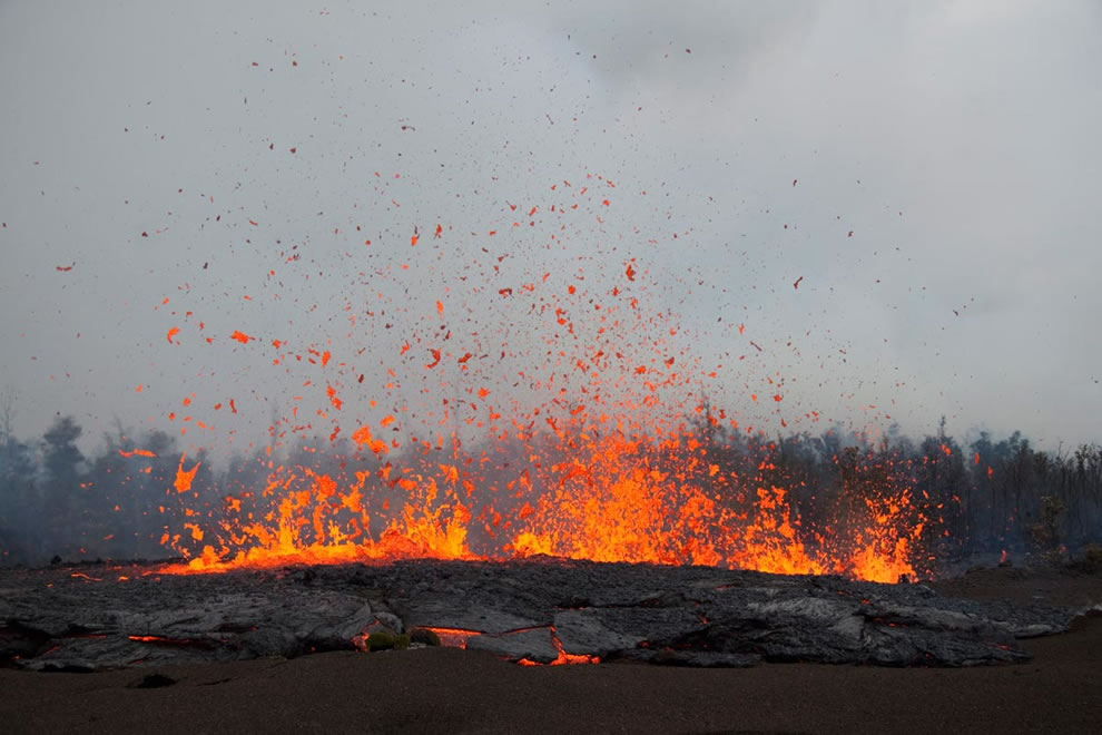 Close-up of spattering fissure. Lava reaching 10 m into the air