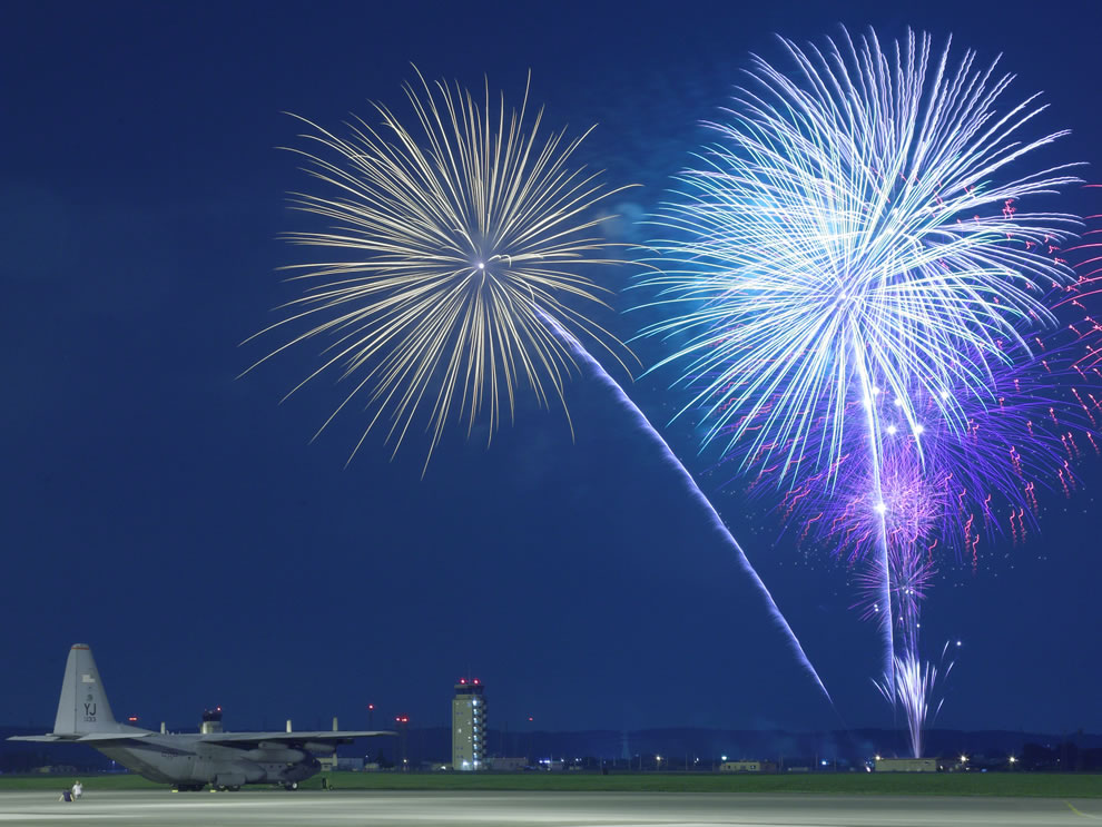 Fireworks burst over Yokota Air Base, Japan, as the 374th Force Support Squadron provided live entertainment, food and fireworks during the celebration