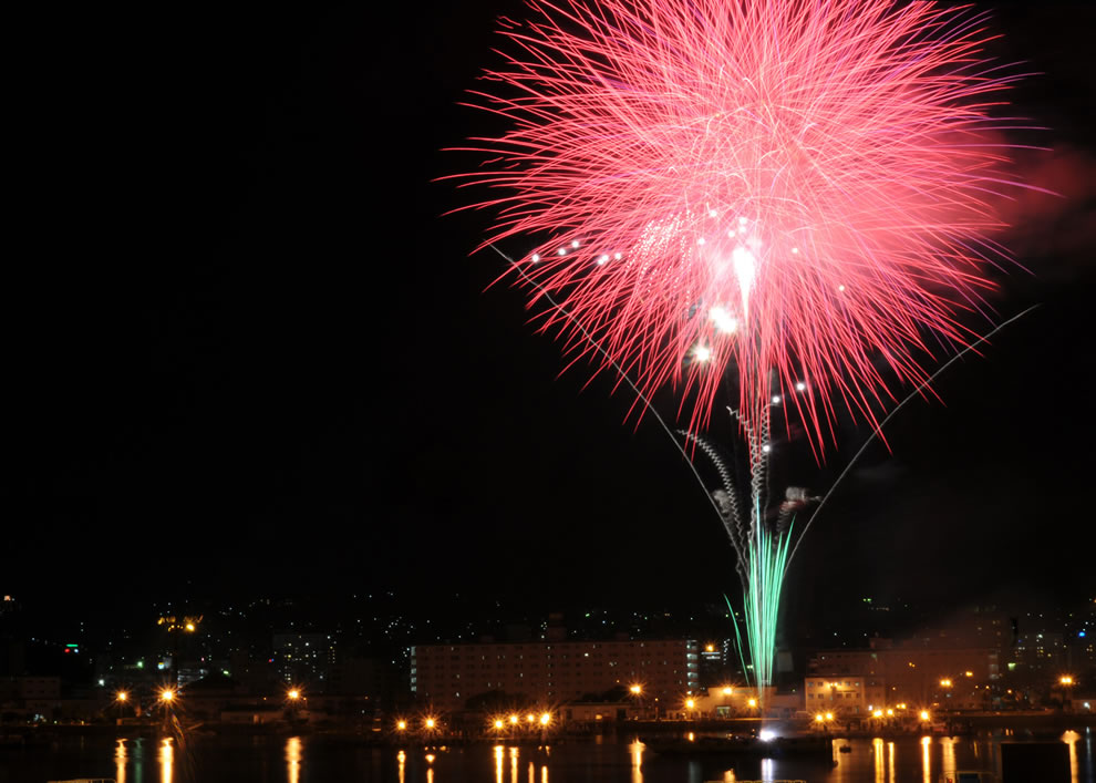 Fireworks explode over Fleet Activities Sasebo